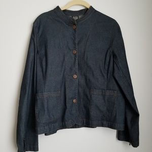 Eileen Fisher petite denim jacket snap buttons